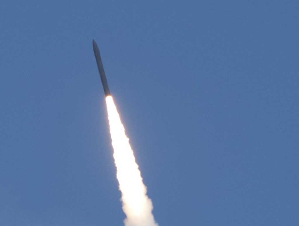 A Missile Defense Agency flight test of a ground-based interceptor, launched from Vandenberg Air Force Base, Calif. in June 2014.