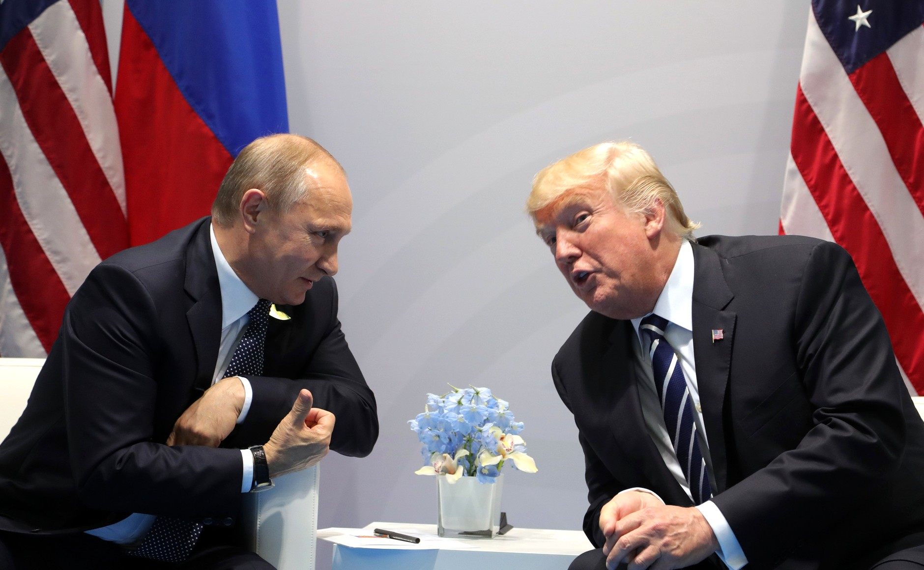 Vladimir Putin and Donald Trump at G20 meeting, July 7, 2017