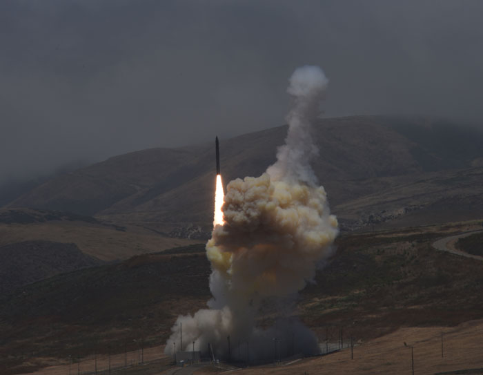 Launch of a missile defense interceptor from Vandenburg Air Force Base in California.