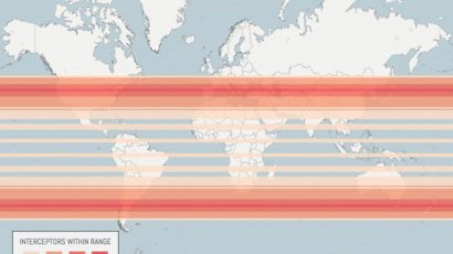 A map that shows the relative missile defense interceptor coverage of a certain array of space-based platforms.