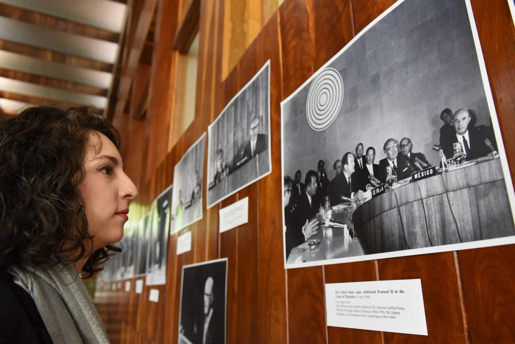 Historical photos displayed at an international seminar to commemorate the 50th anniversary of the Treaty of Tlatelolco