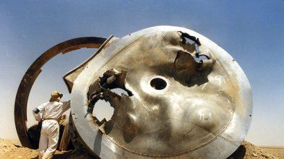 UN/IAEA inspectors examine suspect equipment in Iraq following the 1991 Gulf War. Photo Credit: IAEA Action Team