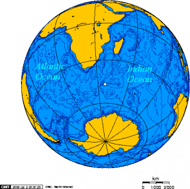 Approximate location of the double-flash observed by a US satellite in 1979.