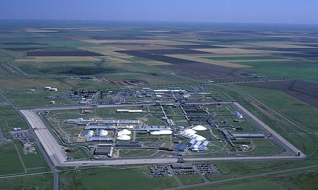 An aerial shot of the Pantex Plant, where US nuclear weapons are assembled and taken apart. Government photo, undated.