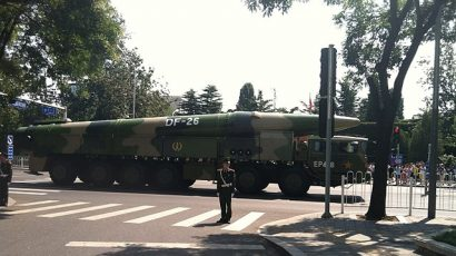 A Chinese DF-26 intermediate range missile and launcher.