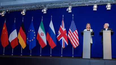 EU High Representative for Foreign Affairs Federica Mogherini and Iranian Foreign Minister Javad Zarif during JCPOA negotiations in Switzerland in 2015. (Photo credit: US Department of State.)