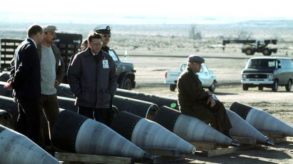 Soviet inspectors and their American escorts stand among several dismantled Pershing II missiles as they view the destruction of other missile components. The missiles are being destroyed in accordance with the Intermediate-Range Nuclear Forces (INF) Treaty. Credit: Department of Defense / MSGT Jose Lopez Jr.