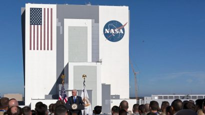 During a visit to the Kennedy Space Center last month, Vice President Mike Pence said the administration is working with Congress to turn the US Space Command into a Space Force—the nation's sixth branch of the armed forces. Credit: NASA/Twitter