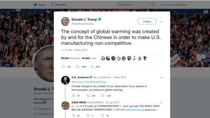 Trump's tweet about global warming.