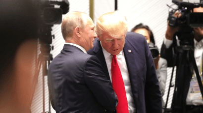 Russian President Vladimir Putin talks with US President Donald Trump. Credit: www.kremlin.ru CC BY 4.0 via Wikimedia Commons.