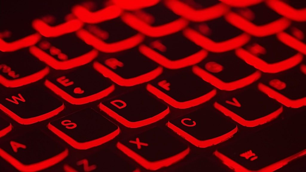 A black and red computer keyboard.