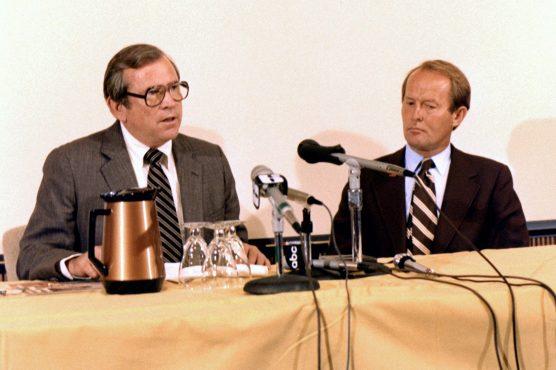 Sen. Howard Baker and Sen. Lamar Alexander visit the Energy Department's Oak Ridge Office in 1982. Credit: Energy Department.