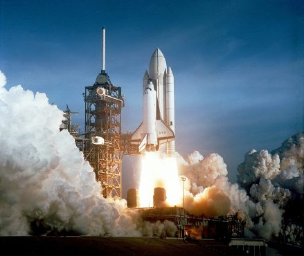 The Space Shuttle Program was intended to generate commercial income. The program grew dependent on military contracts. Credit: NASA.
